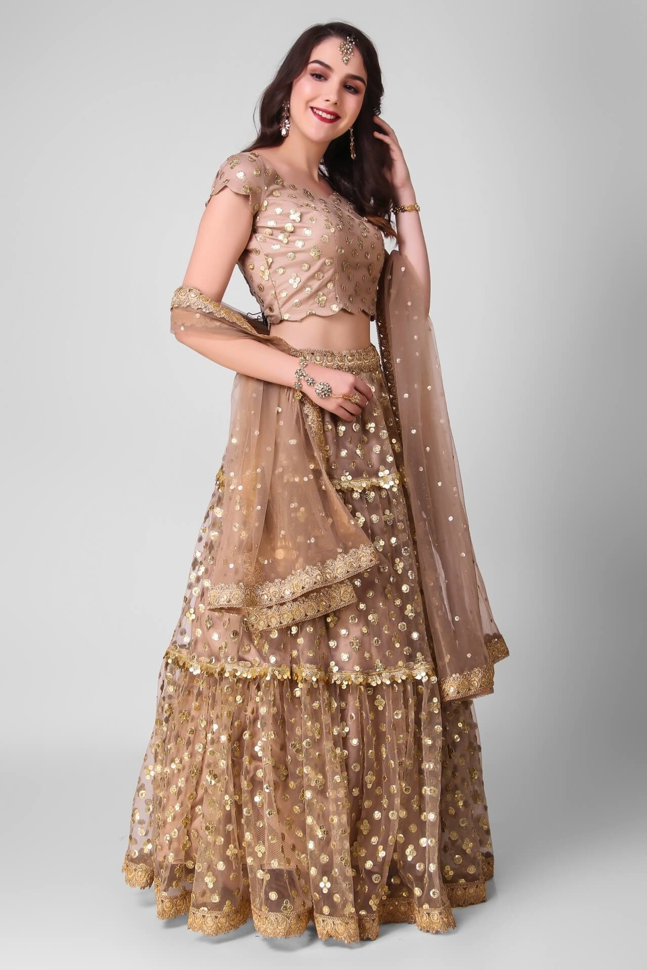 Gold Sequins Tiered Lehenga