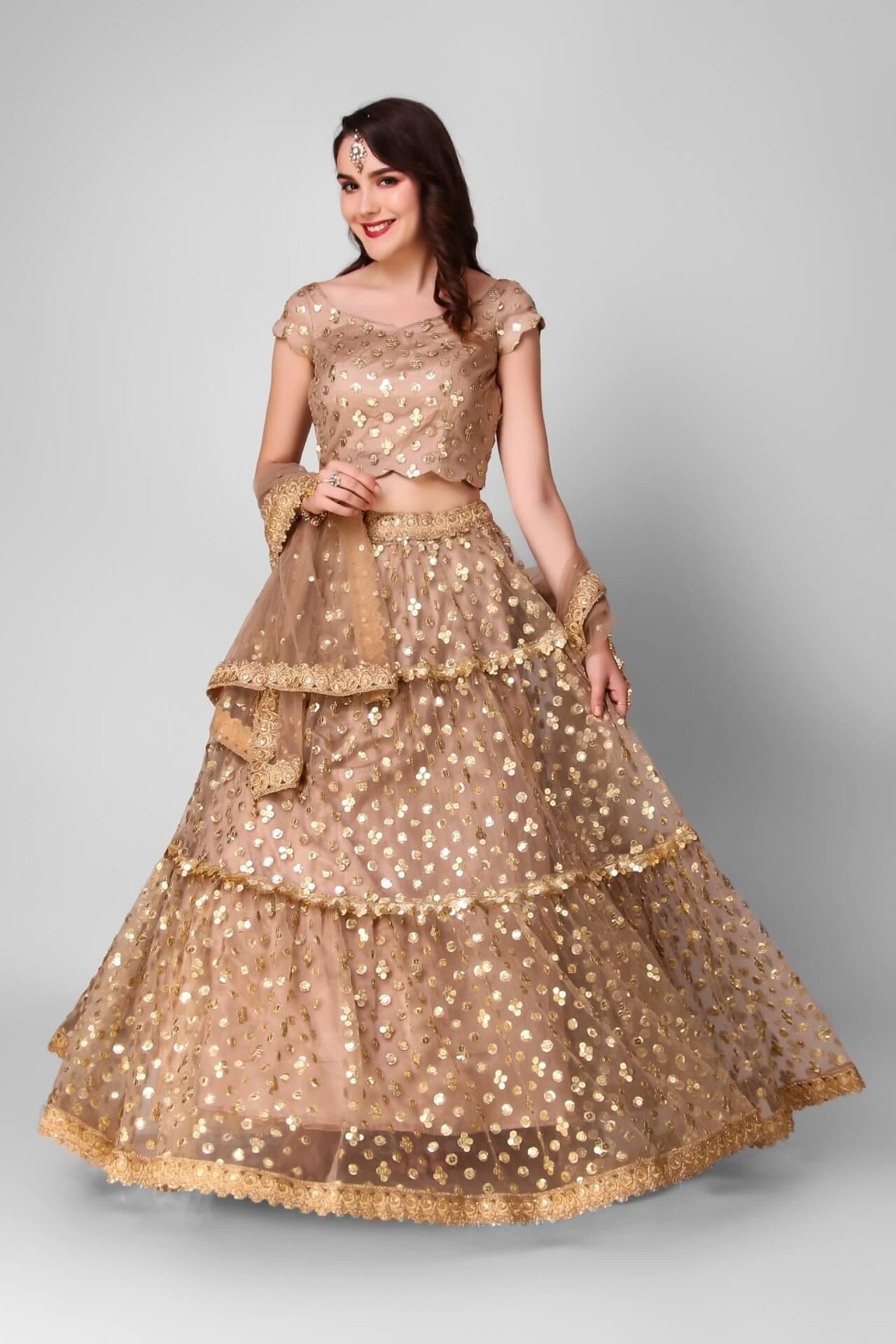 Gold Sequins Tiered Lehenga