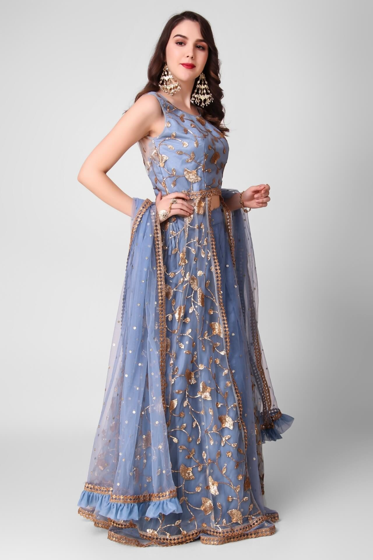 Dusty Blue Embroidered Jacket Lehenga