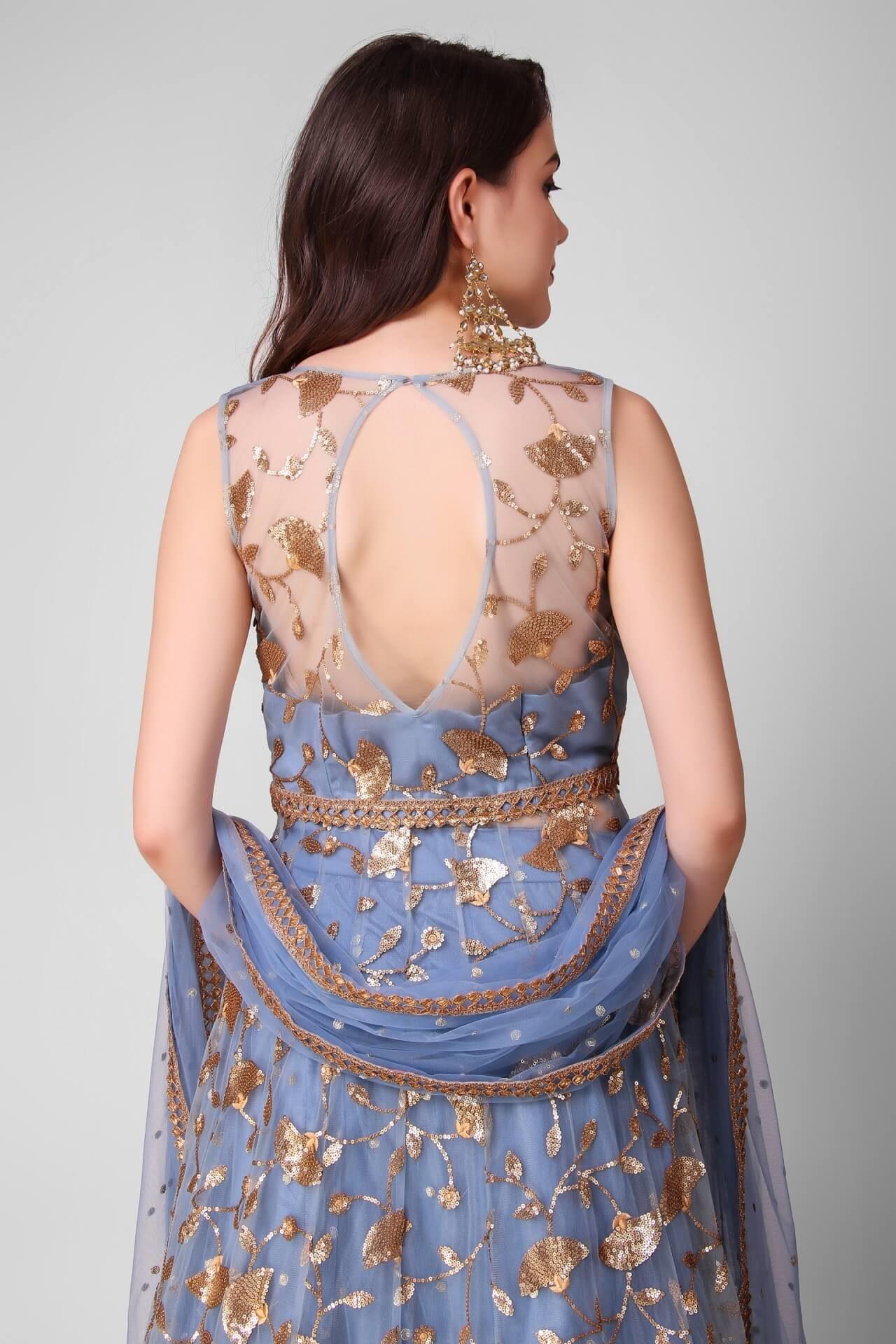 Dusty Blue Embroidered Jacket Lehenga
