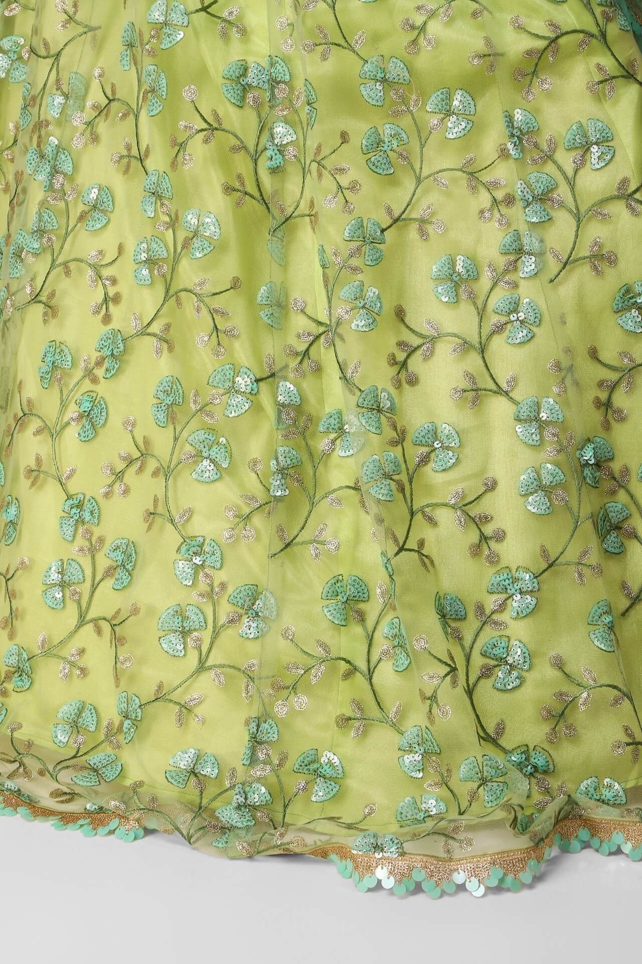 Lime Green-Turqoise Multi Sequins Scallop Lehenga