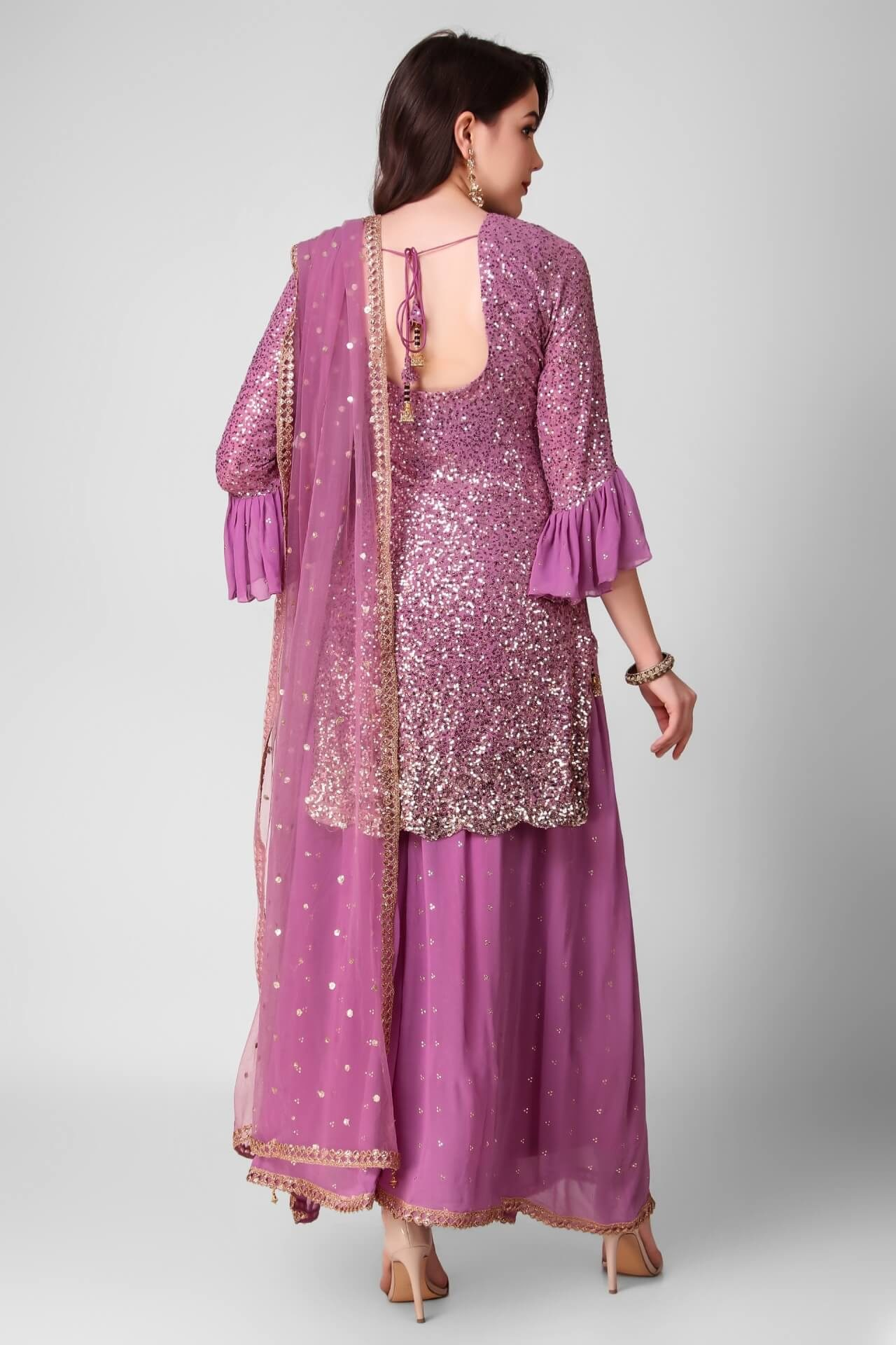 Onion Purple Sequins Sharara Set
