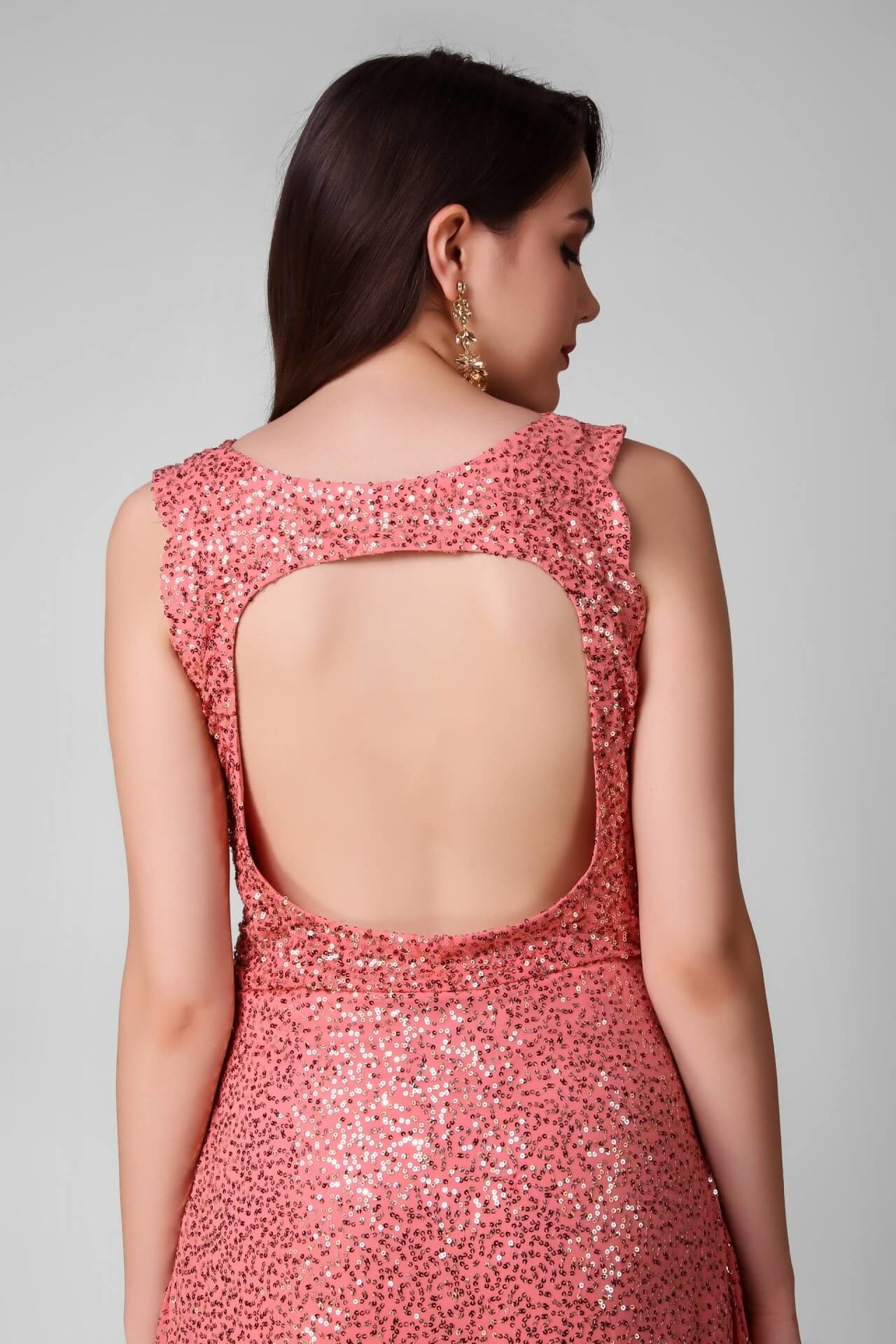 Peach Sequins Stylish Gown