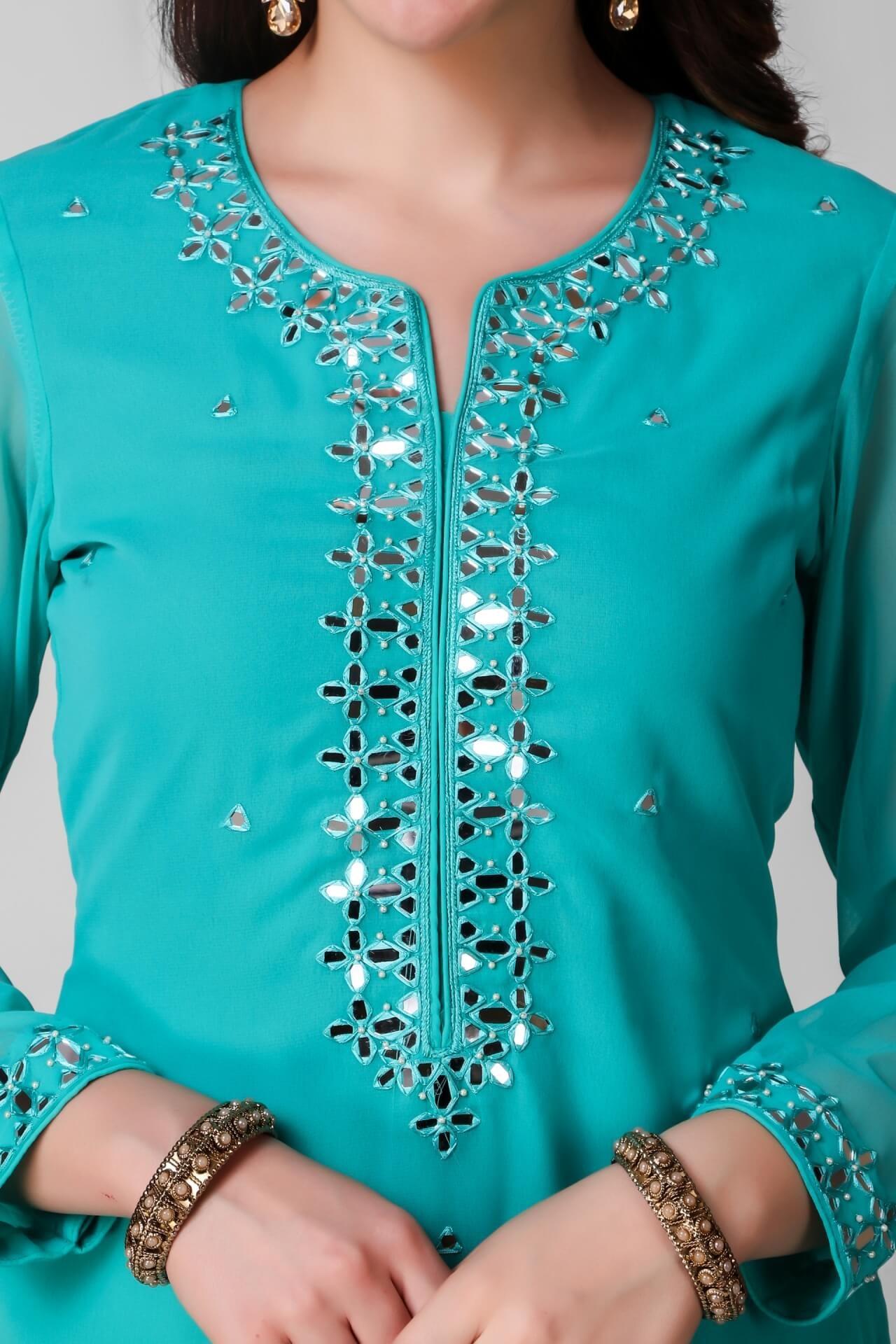 Mirror Work Turquoise Georgette Kurti