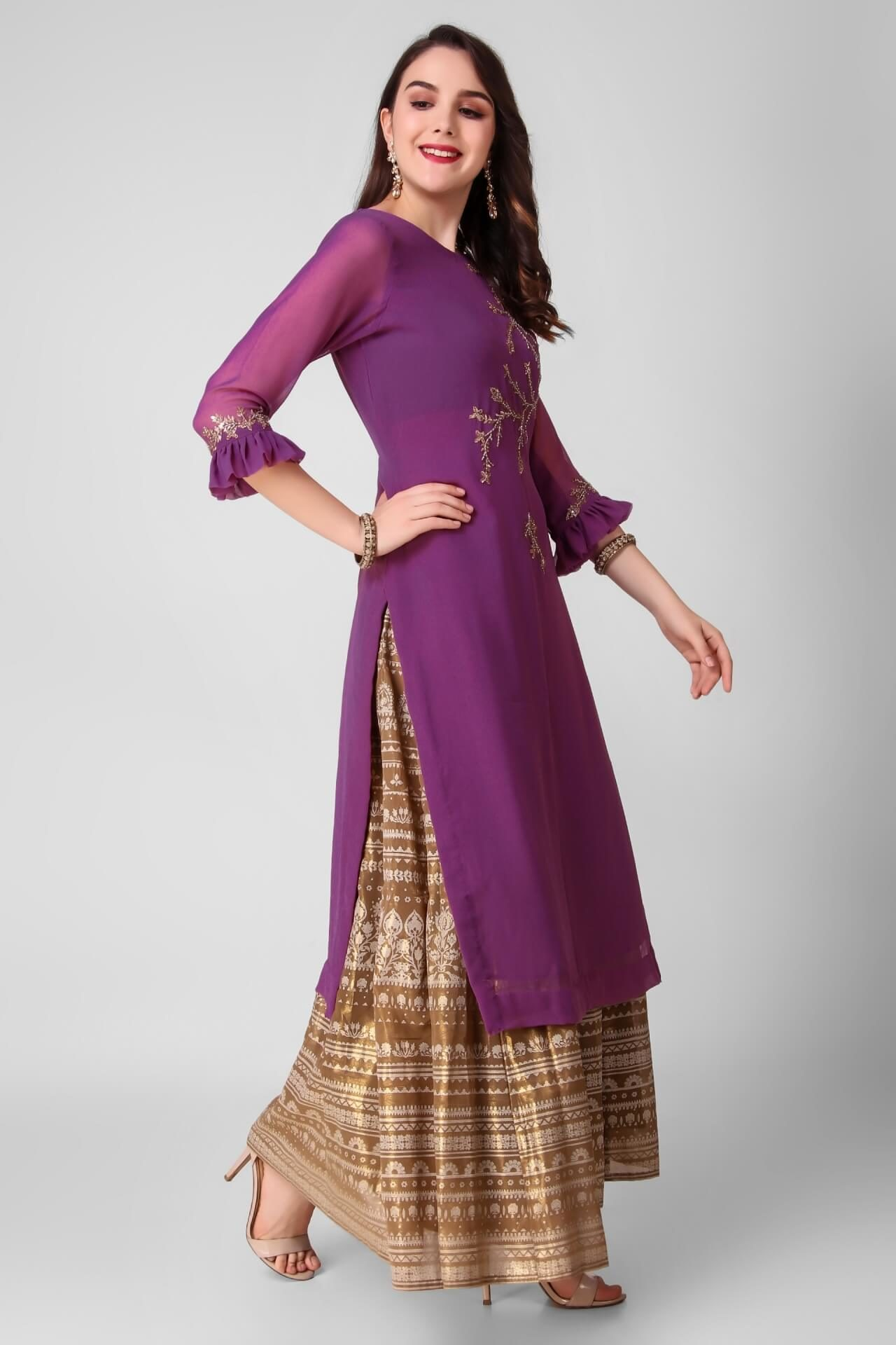 Wine Katdana Work Georgette Kurti
