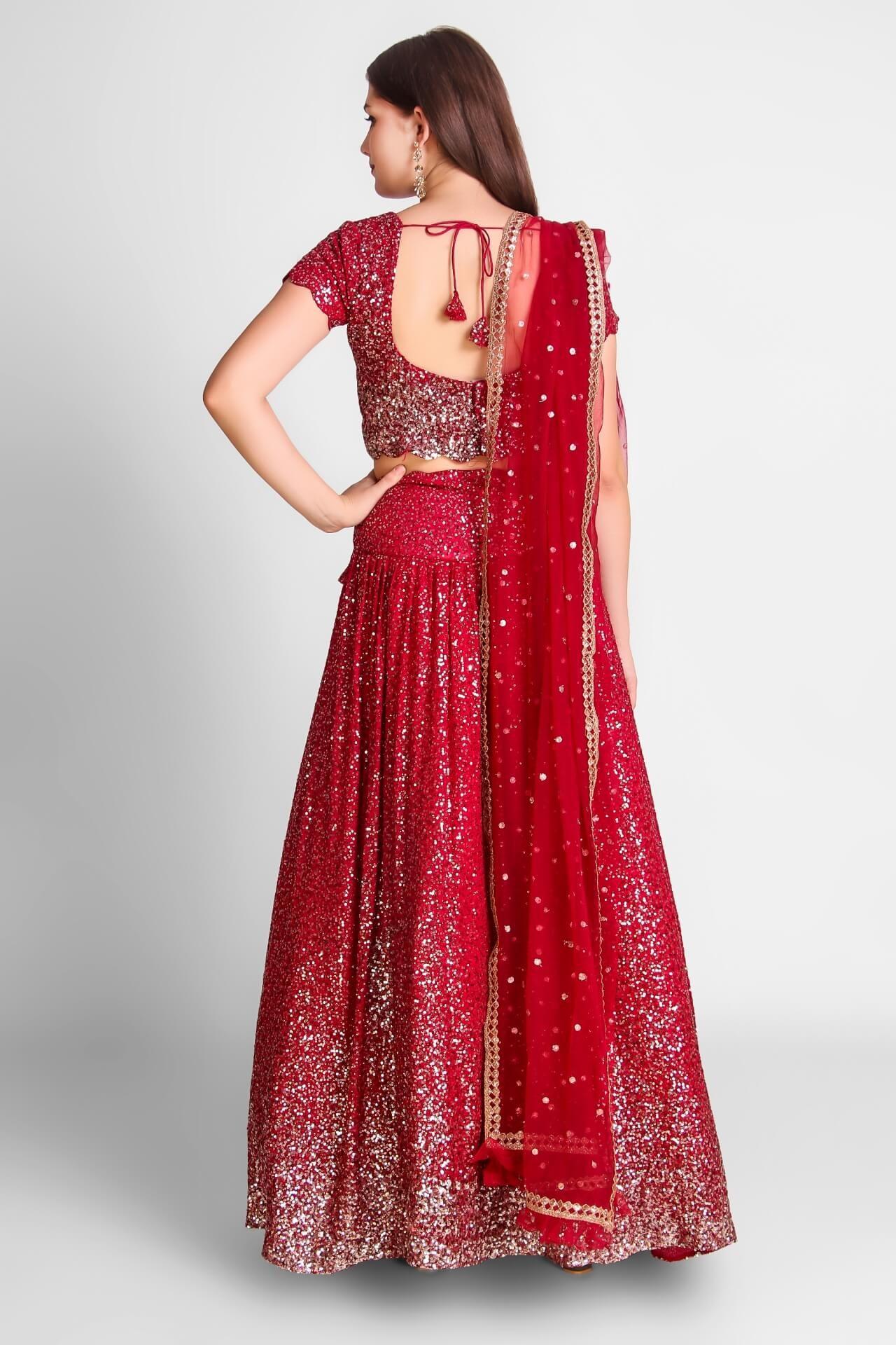 Crimson Red Sequins Georgette Lehenga