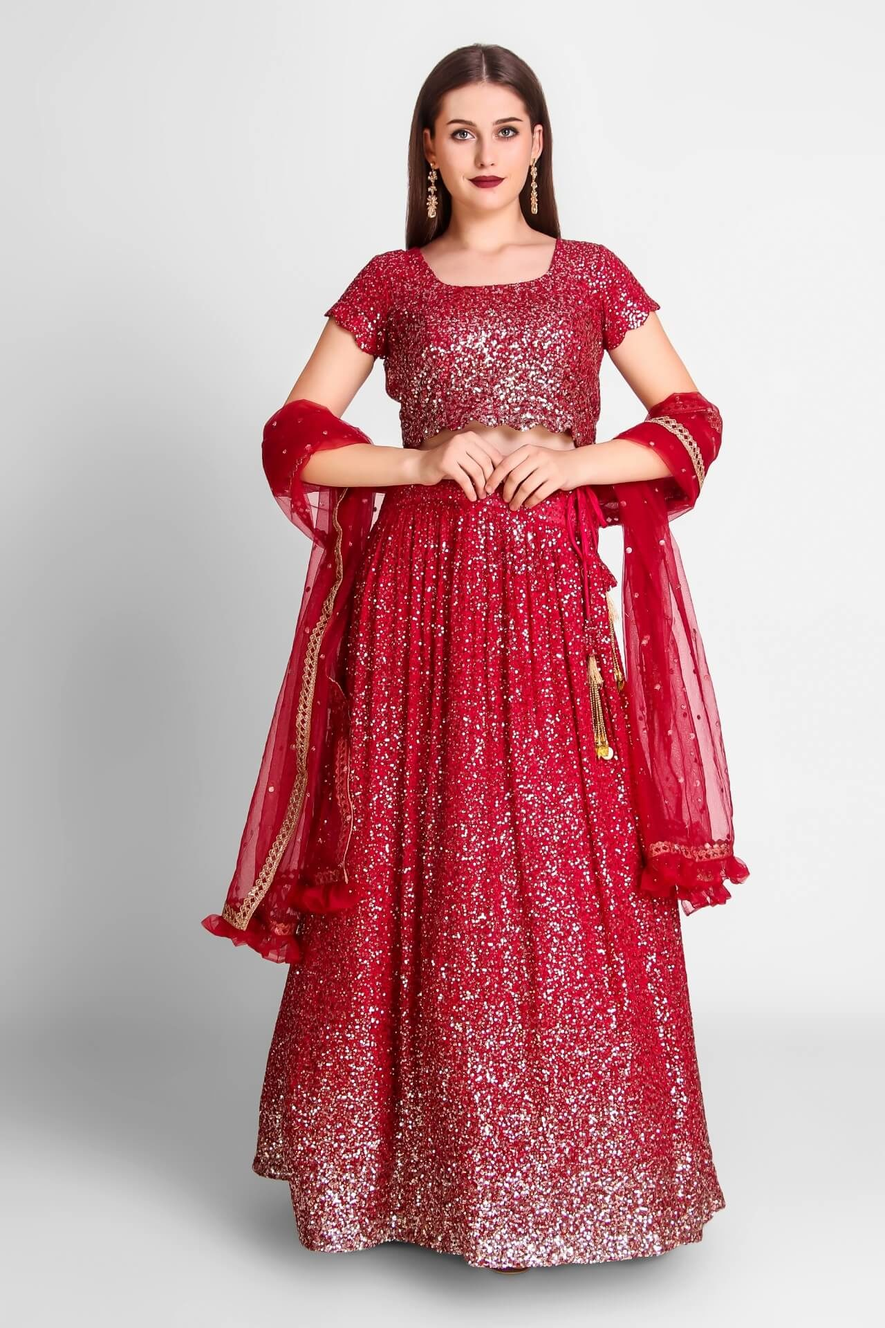 Crimson Red Sequins Georgette Lehenga