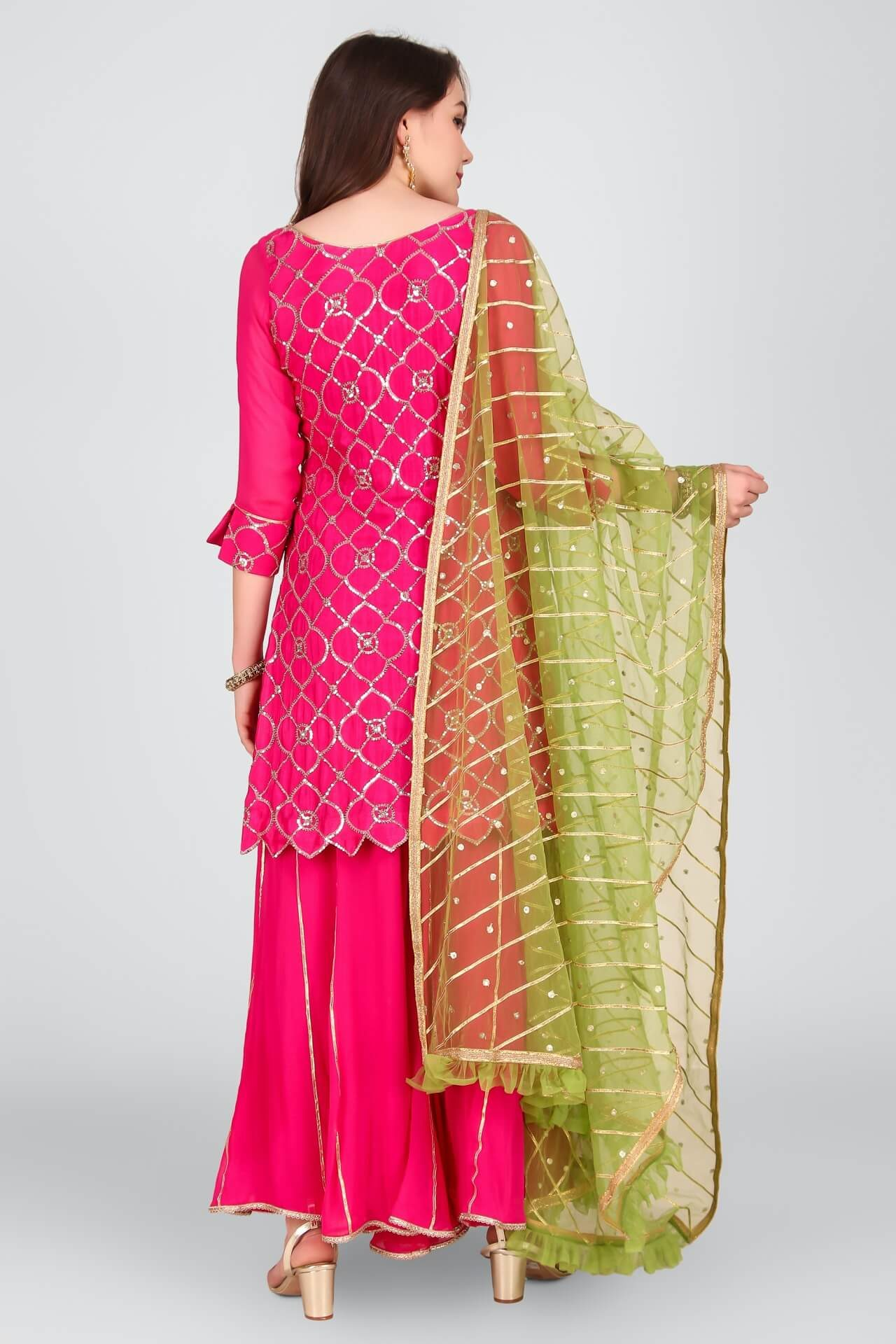 Embroidered Magenta Sharara Set With Mint Dupatta