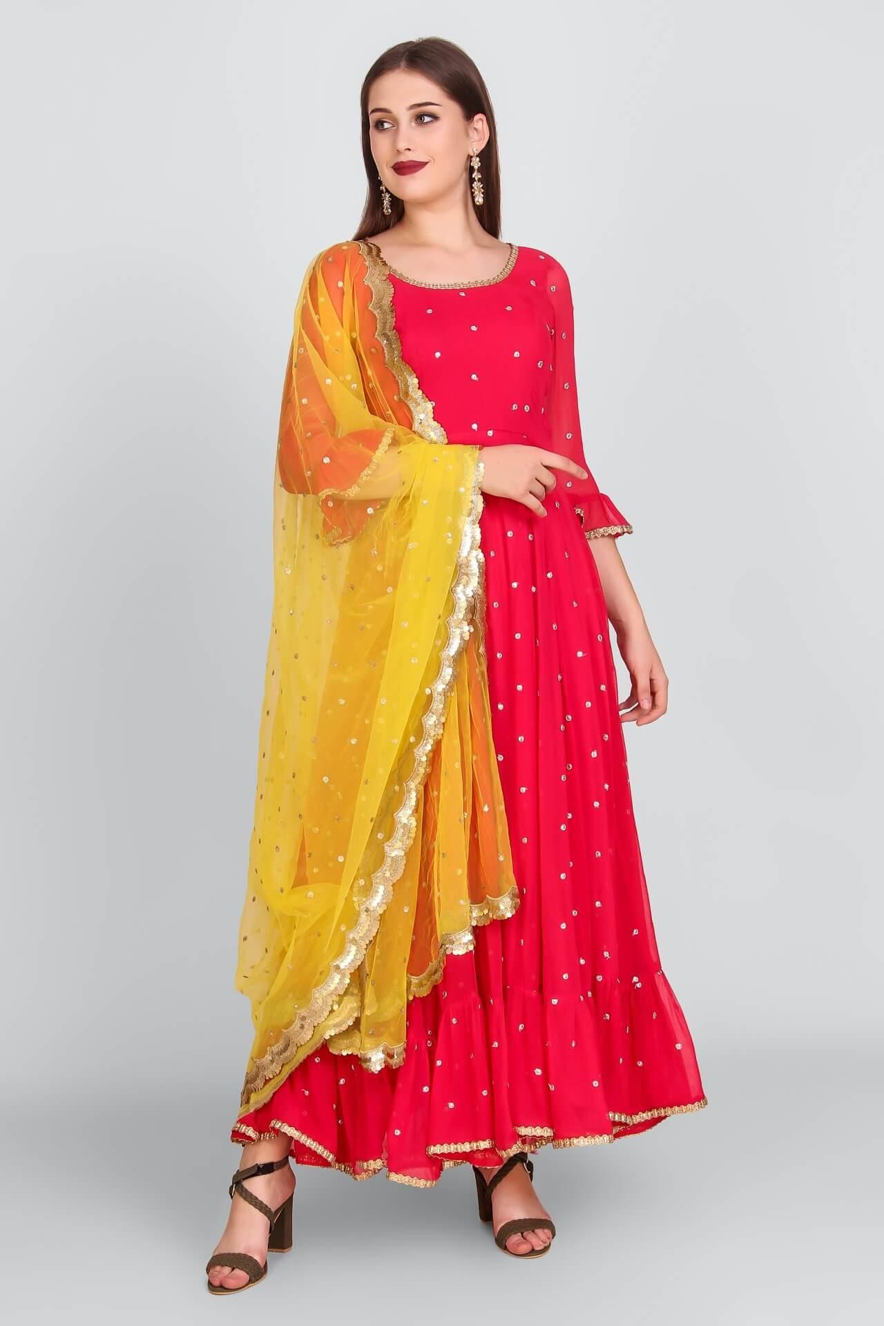 Hot Pink Mukaish Anarkali With Yellow Sequins Dupatta