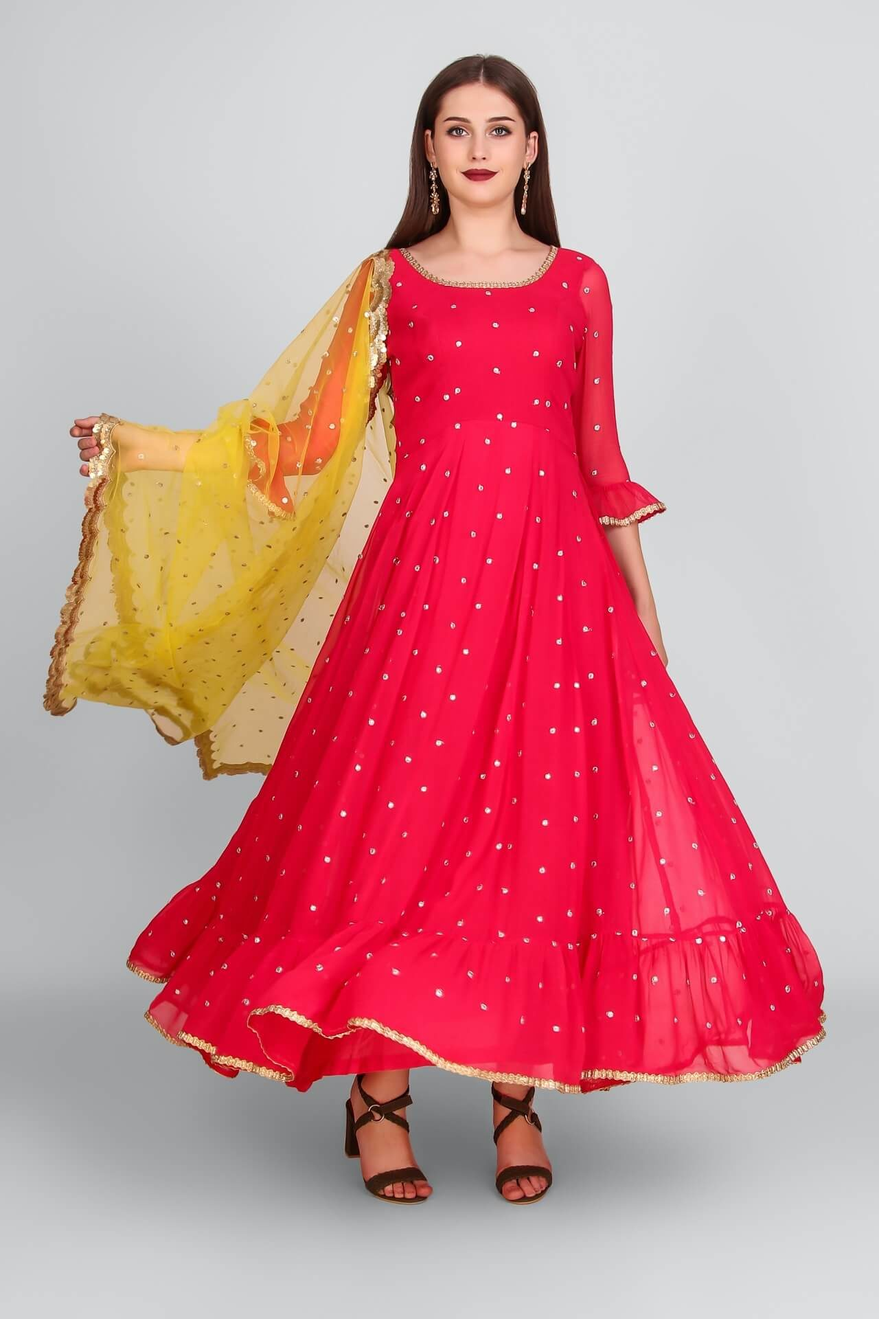 Hot Pink Mukaish Anarkali With Yellow Sequins Dupatta