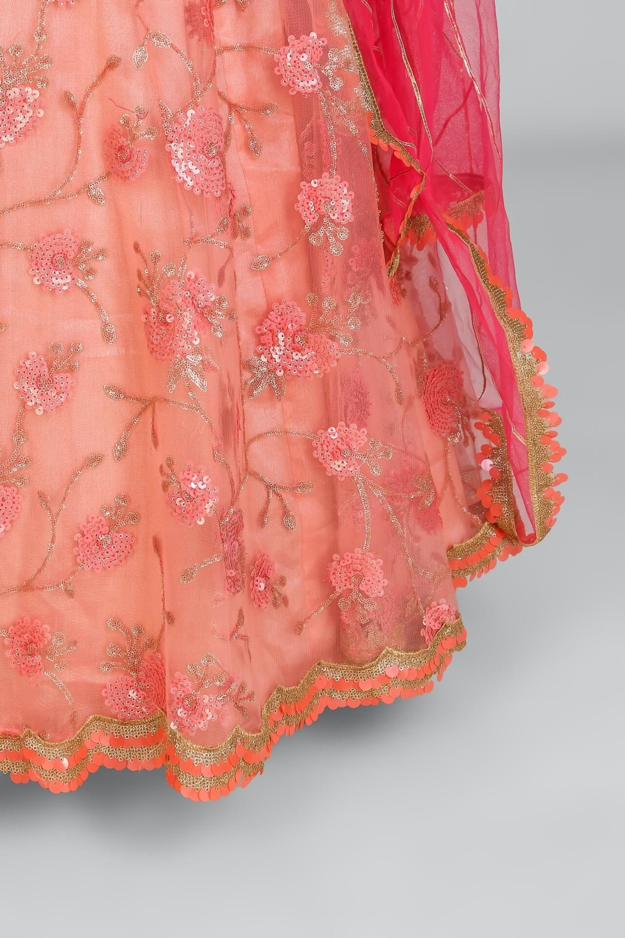 Multi Sequins Peach Lehenga With Contrast Scallop Dupatta