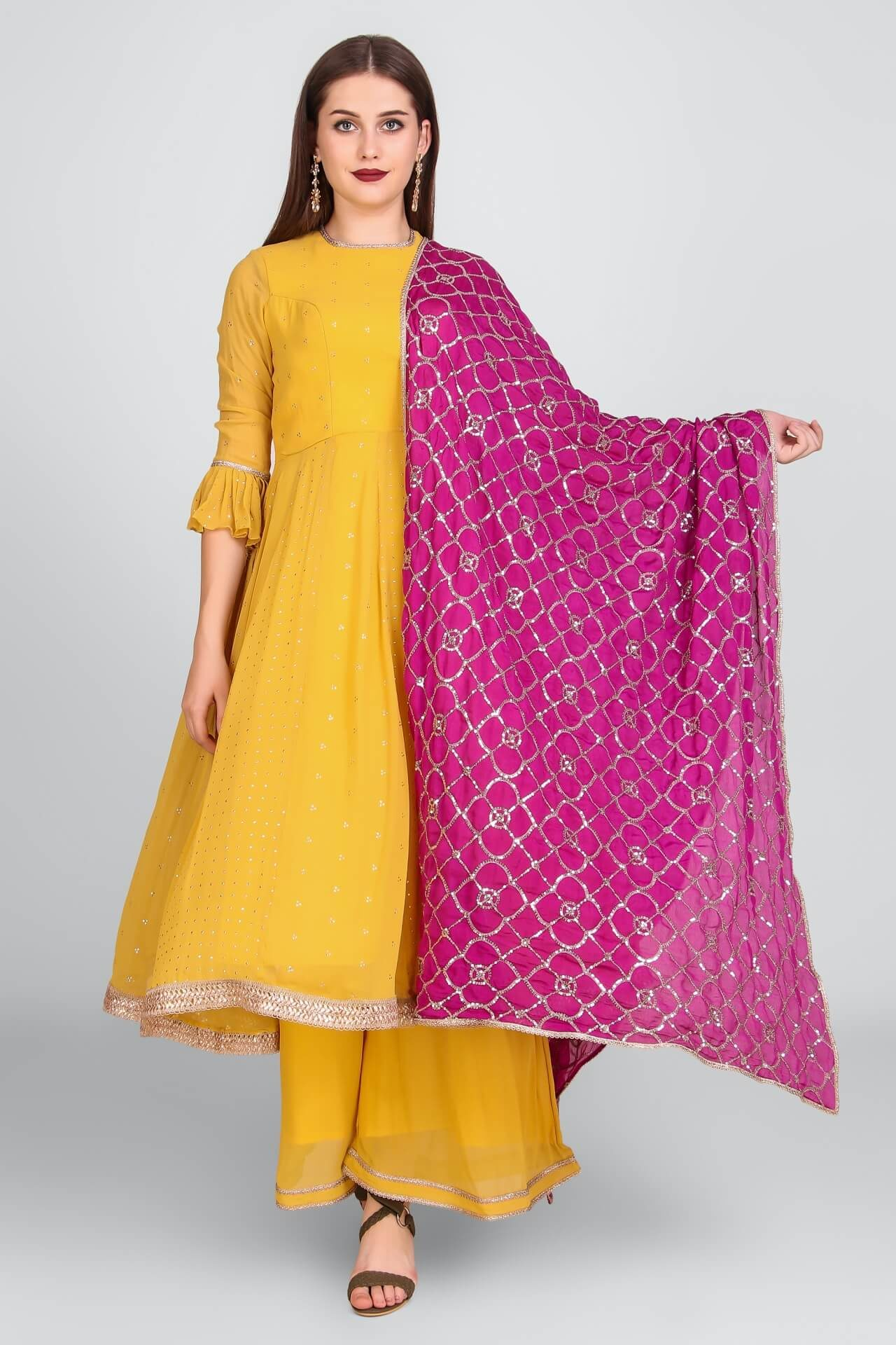 Yellow Anarkali Palazzo With Heavy Sequins Wine Dupatta