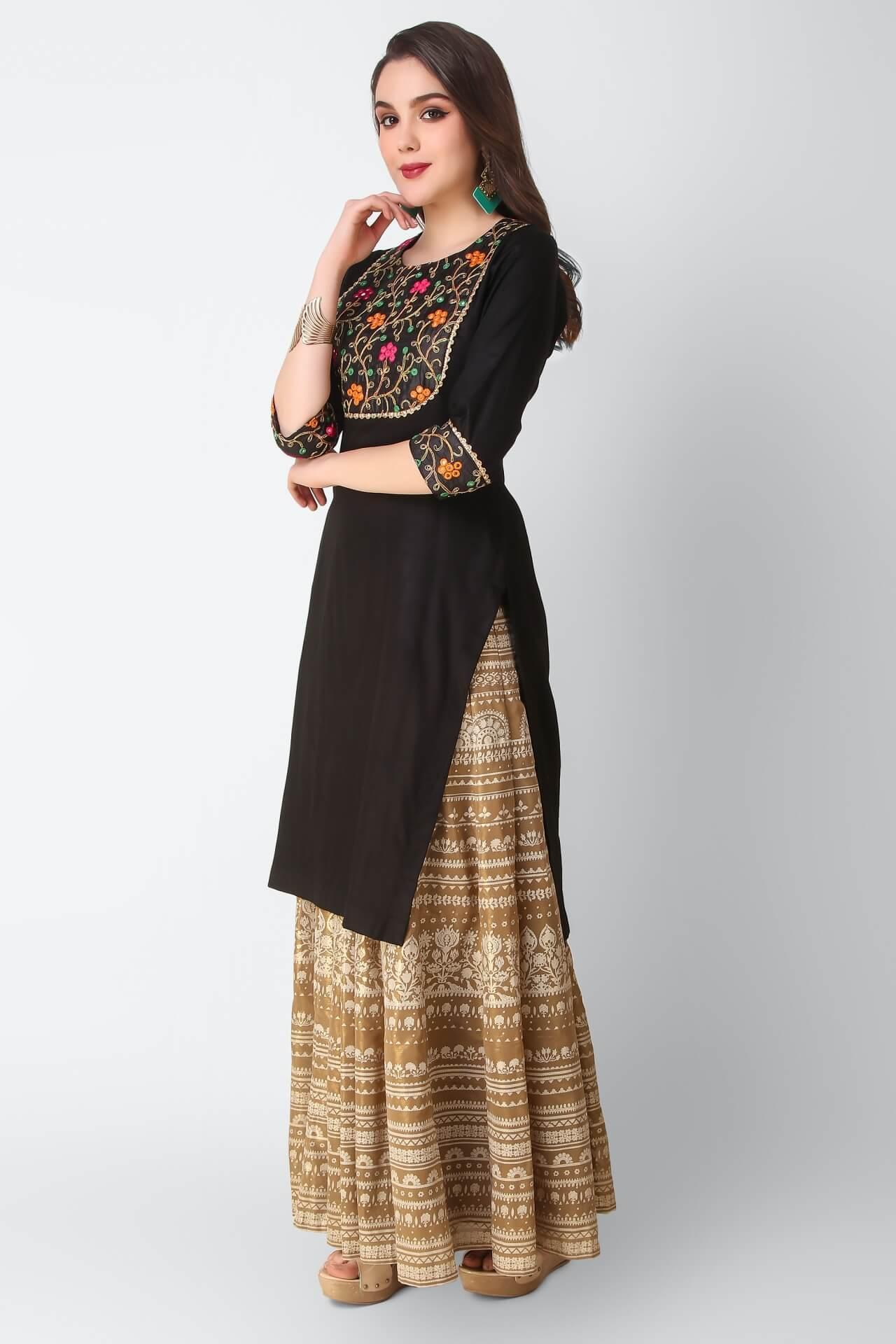 Black Kurti With Resham Dori And Mirror Work