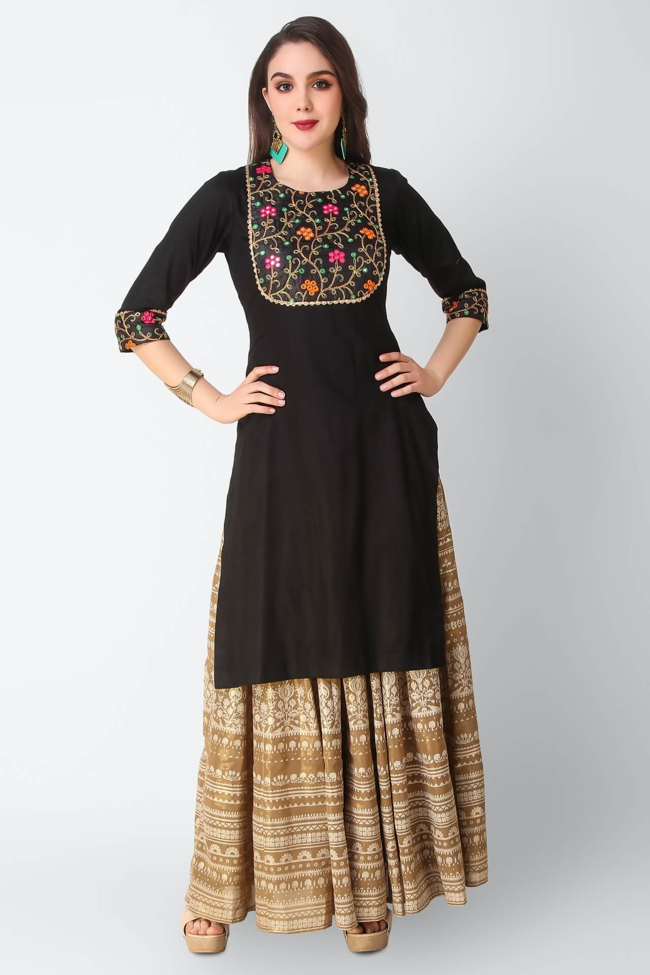 Black Kurti With Resham Dori And Mirror Work