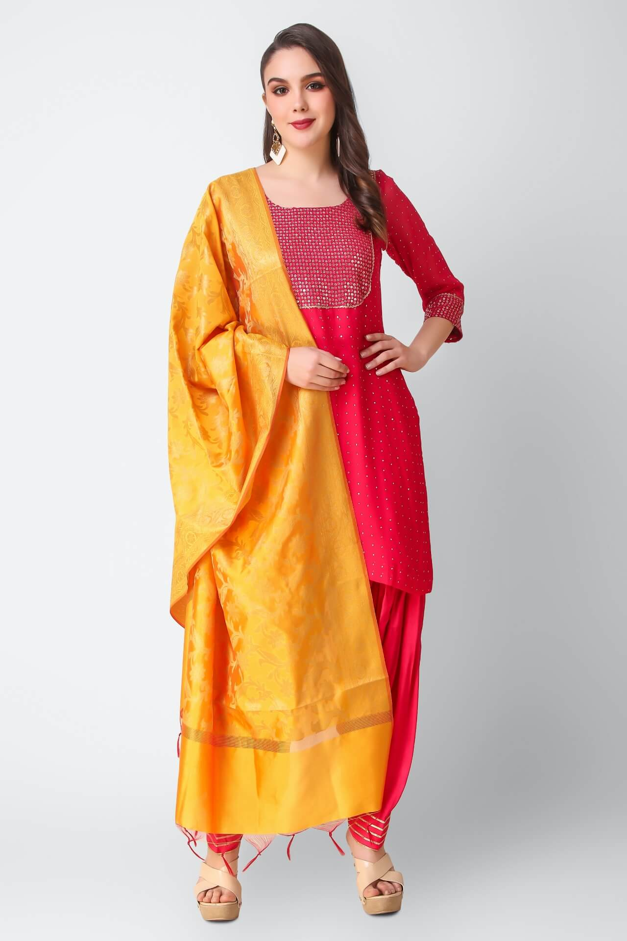 Fushia Patiala Suit With Mustard Banarsi Dupatta