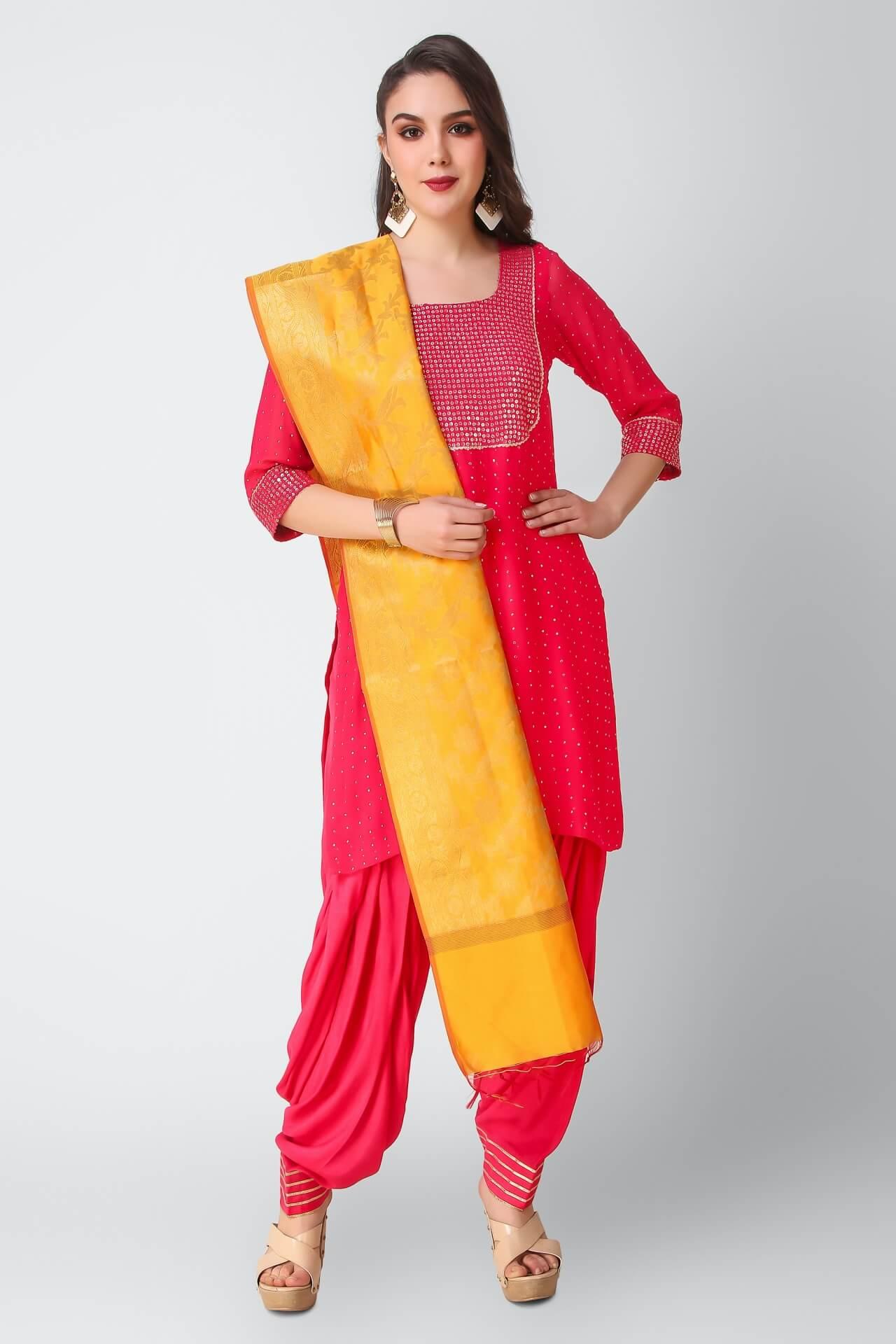 Fushia Patiala Suit With Mustard Banarsi Dupatta