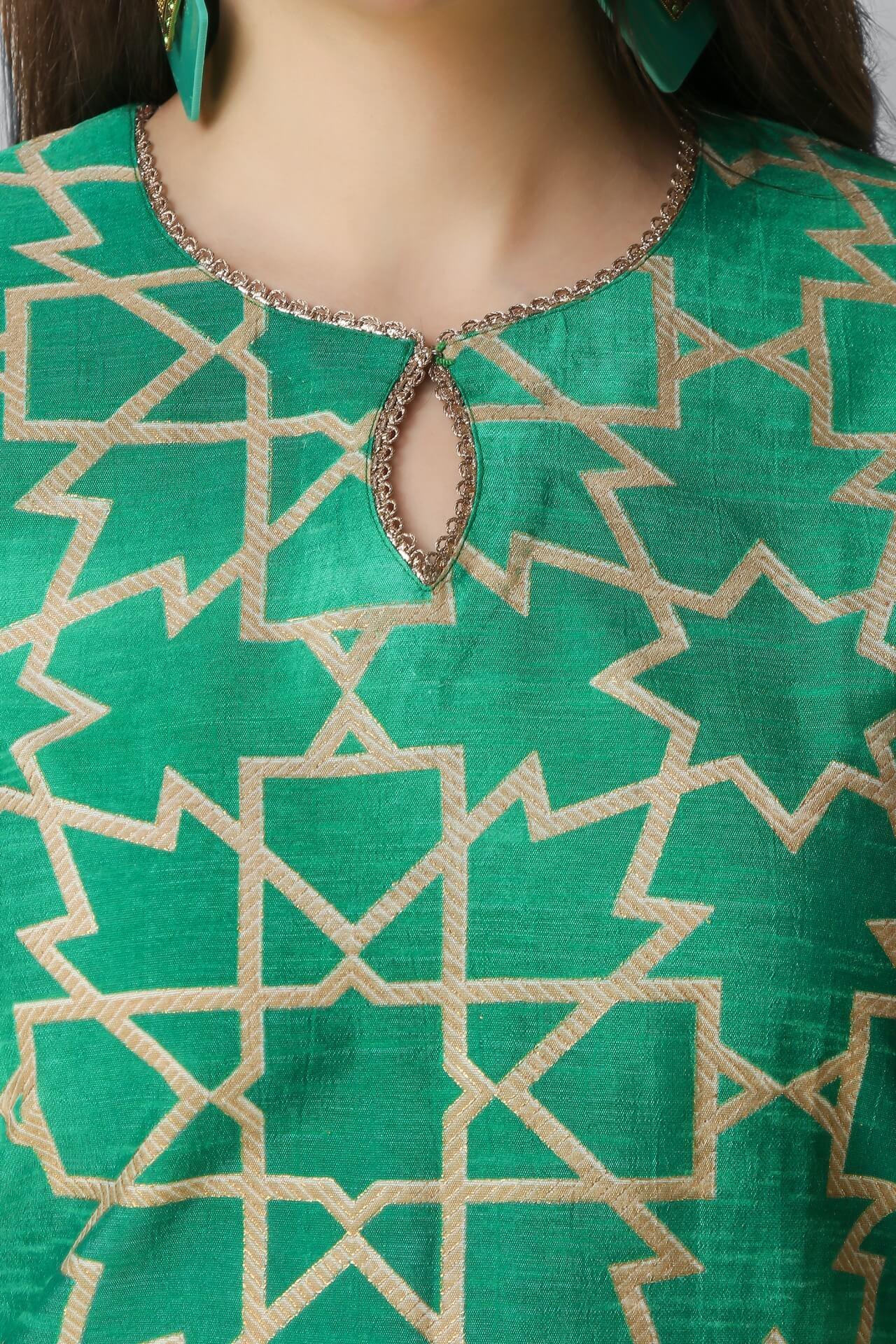 Green Foil Print Kurti