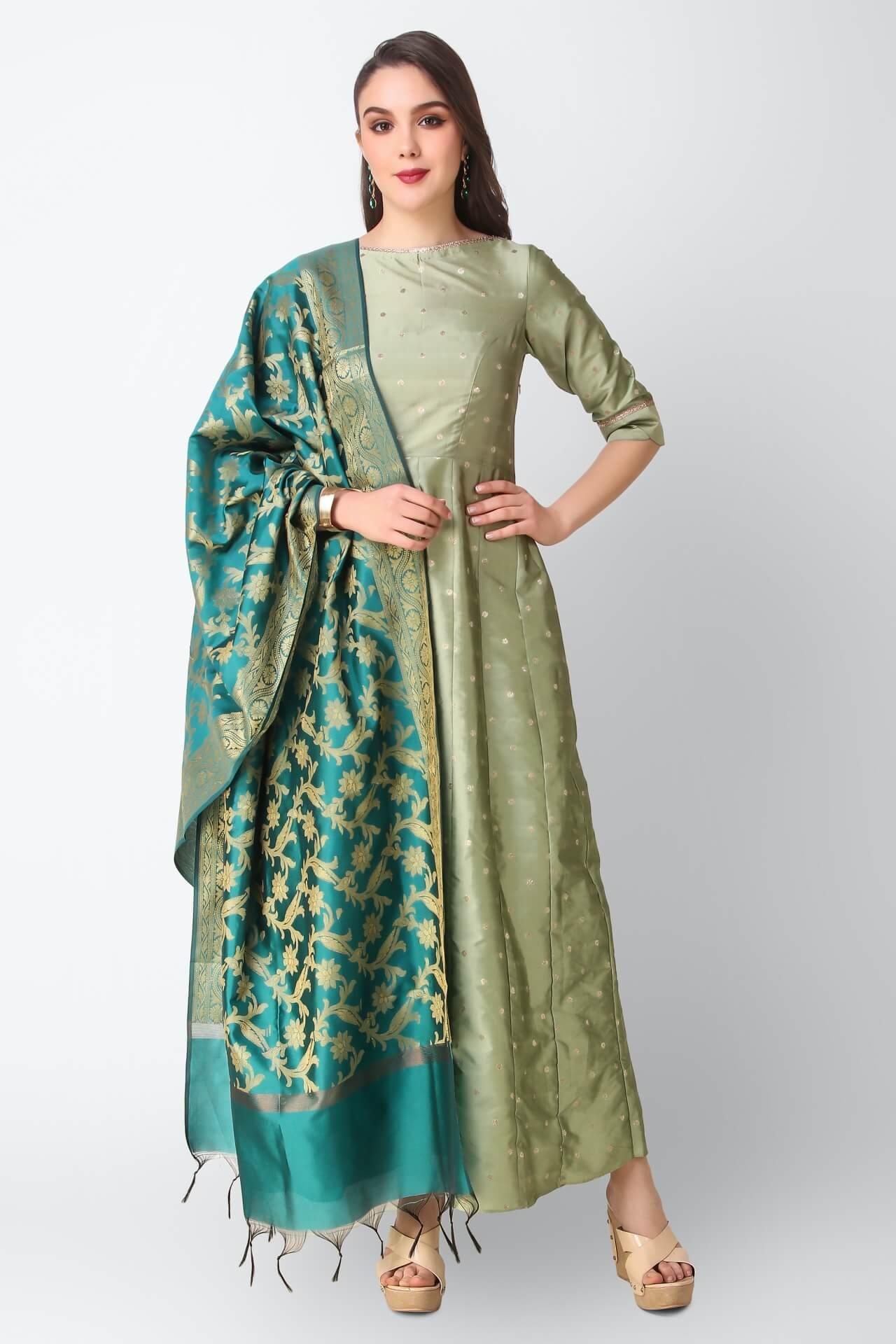 Mint Anarkali With Teal Dupatta