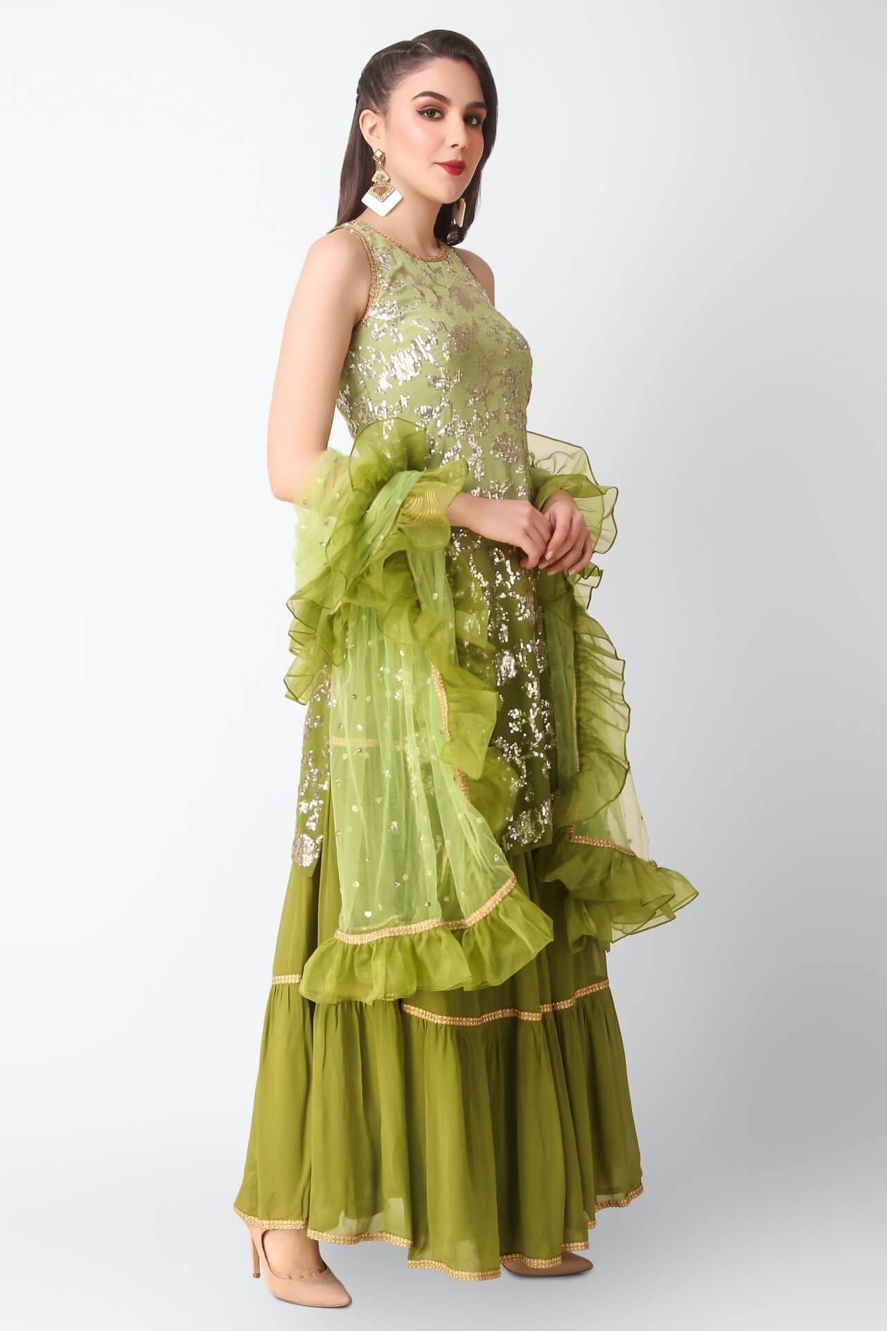 Short Kurti With Green Lehenga